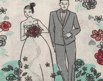 Bride Groom Wedding Fabric - Vintage Style Retro Wedding Fabric - 100% Cotton Fabric - Fabric by the yard - BHY