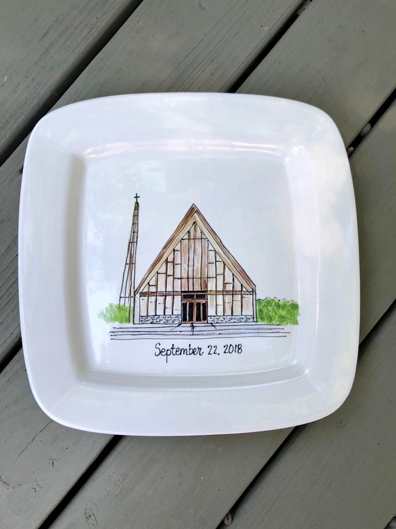Hand Painted, hand illustrated wedding platter, wedding platter, hand illustrated church platter, wedding gift platter, anniversary platter,