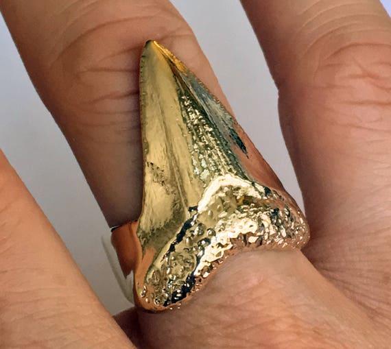 Solid Gold Mega Shark Tooth Ring