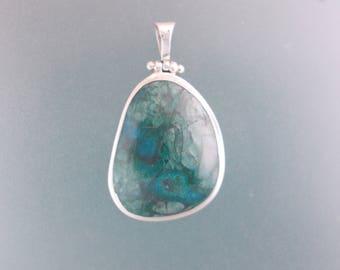 Malachite and Chrysocolla Sterling Silver Stone Pendant