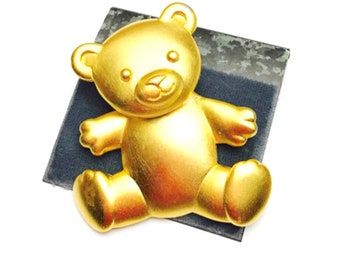 Vintage JJ Teddy Bear Brooch, Solid Gold Tone, Figural, collectors Gifts, Item no. B830