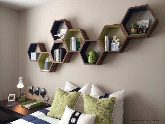 hexagon floating shelves honeycomb shelf home decor wood. Black Bedroom Furniture Sets. Home Design Ideas