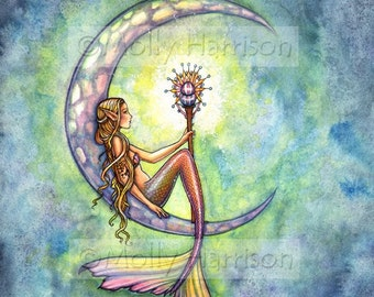 Mermaid Print - Mermaid Moon Fine Art Fantasy Giclee Pirint
