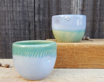 Pair of handmade cups, great for coffee, tea, whisky tumbler. Stoneware ceramic with dimple. Valentine offer- free heart decoration included