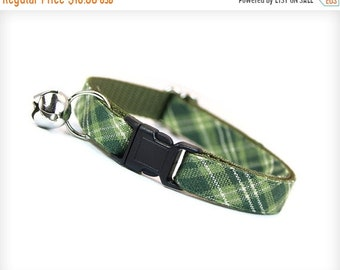 """SALE 20% Off - Green Plaid Cat Collar - """"Walden"""" - Sage & Moss Green Plaid - Breakaway Buckle or Non-Breakaway - Sizes for Cats + Small Dogs"""
