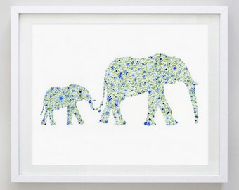 Mamma and Baby Elephant Floral Watercolor Print in Blue