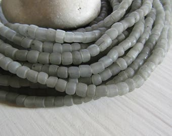 small matte grey seed  bead,  transparent glass bead, irregular barrel tube spacer, New Indo-pacific 3 to 6 mm / 22 inche strand - 7ab29-35