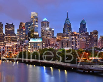 Philadelphia Skyline at Dusk Sunset COLOR or BW PHILLY Panoramic Photo Poster Cityscape Print