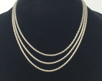 Vintage Silver Tone Necklace Multistrand Snake Serpentine Chain Rope