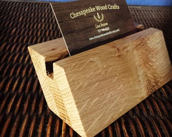 Wood Office Desk Business Card Holder, Office Accessories, Office Furniture, Office Supply, Business Card Holder