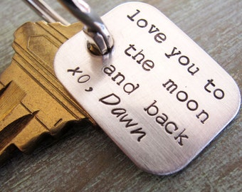 Love you to the Moon and Back, Personalized Key Chain, Grandpa Key Chain, Grandkids Names, Dad Key Chain