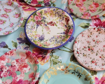 8 FLORAL TEA PARTY Paper Plates Mismatched China Parisian Vintage Style Shabby Chic Cottage Garden Spring & French style plates | Etsy