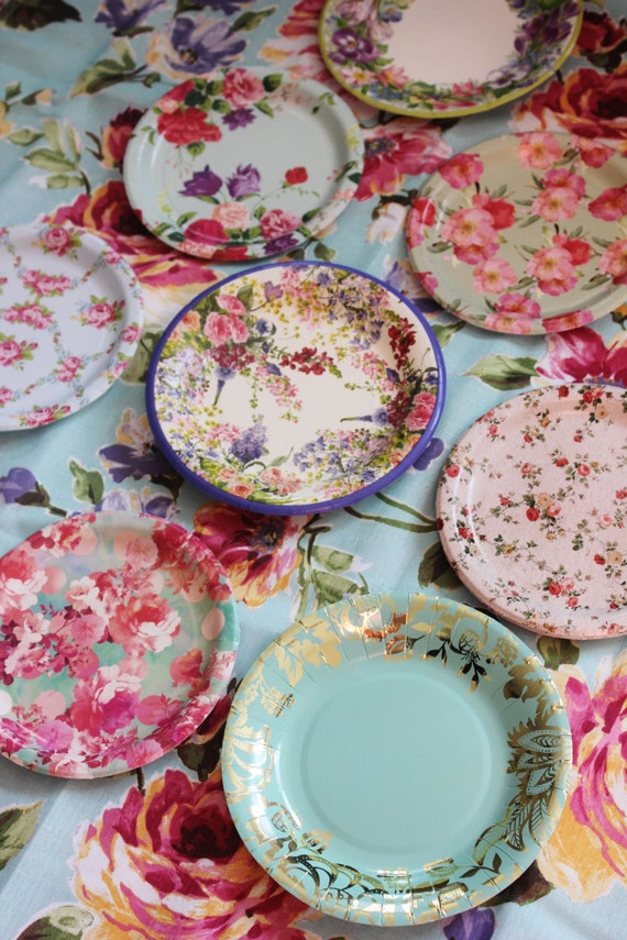 & 8 FLORAL TEA PARTY Paper Plates Mismatched China Parisian