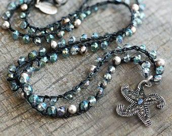 Hawaii Starfish Necklace, Starfish Jewelry, Ocean Jewelry, Sea, Ocean Necklace, Beach Necklace, Silver Starfish, Charm Necklace N1552