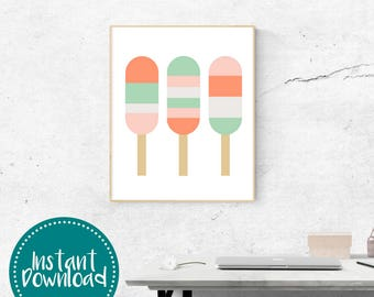 Summer Popsicles Mint Punch Printable Wall Art