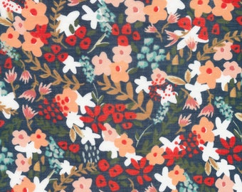 """ORGANIC Batiste 37""""x44"""" End of Bolt Piece Cotton Fabric Wilder on Navy from Cloud9 Fabrics Frolic collection Dress Apparel Fabric"""