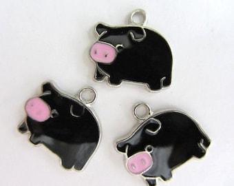 5 pieces Enamel BLACK PIG Charm Pendants