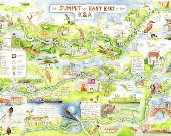 Canal Map, Kennet and Avon Summit and East End A4