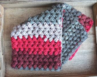 Zig Zag Scarflette, winter scarflette, winter scarf, puff stitch scarflette