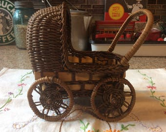 Wicker Baby buggy / doll size /decoration/ planter