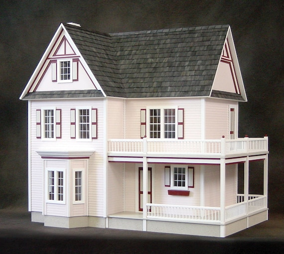 Scale One Inch Dorothy Victorias Farmhouse Wooden Dollhouse Kit With Optional Turntable Made In USA