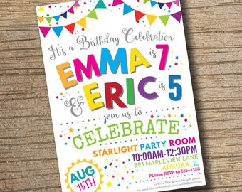 Joint birthday etsy joint combined birthday party invitation twins birthday invitations siblings party joint birthday invitation filmwisefo