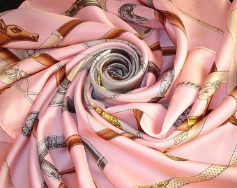 "HERMES Silk Scarf ""Rods and knobs"" Rose / Pink Hermes scarf"
