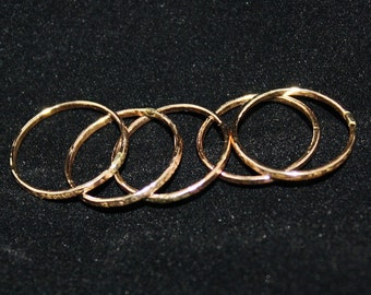 Sparkle Rings stack of 5 thin skinny hammered goldfilled stacking