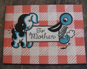 1930's Mothers Day Card with puppy and duck, 'To Mother' on parchment paper