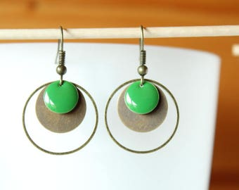 bronze sequins round and Green Apple earrings