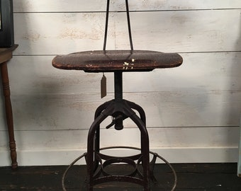 Classic Vintage Adjustable Toledo UHL Steel Drafting Stool - 1940's - Industrial Design