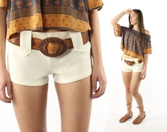 Vintage 70's Hip Hugger Shorts Ivory Knit Low Rise Hippie Boho 1970s Festival Fashion Medium M