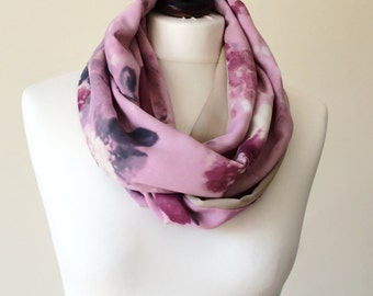 Watercolor Scarf Floral Spring Scarf Pastel Foulard Infinity Scarf Boho Pink Foulard Loop Scarf Two Sided Scarf Print Circle Scarf Mom Gift