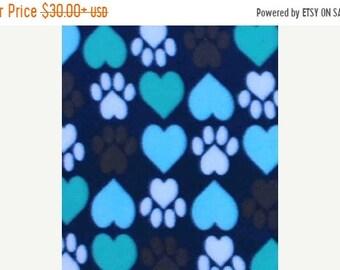 ON SALE Heart Paw Prints Fleece Blanket - Puppy Blanket - FREE Personalization