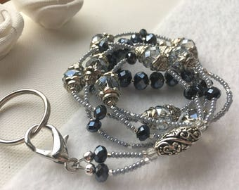 Silver Blue Filigree Beaded Lanyard and Key Ring