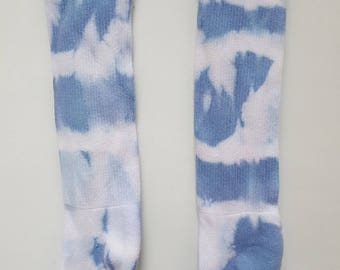 Hand Dyed Knee Socks in Blue