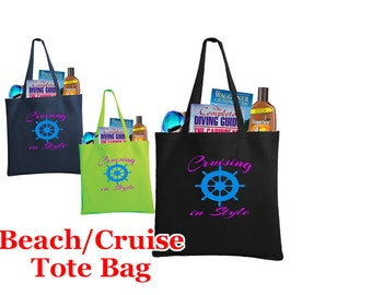 Cruise and Beach theme tote bag.  Large, flat tote with plenty of space for all your needs