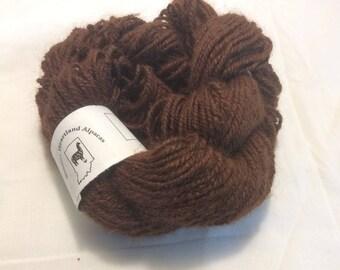 Alpaca Yarn, Suri Alpaca Yarn, Pure Suri Yarn, Medium Brown Yarn ~ Celeste  ~ 3 Ply