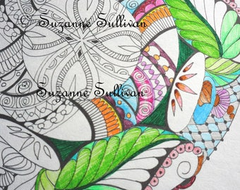 Printable Coloring Page, Mandala Coloring Page, Coloring for Adults, Zen Mandala Coloring Page, Zen Doodle, DIY Coloring page, Relaxing