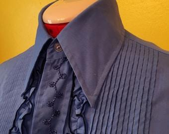 1980's Periwinkle Ruffle Tuxedo Shirt