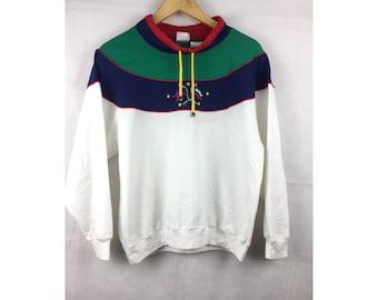 JANTZEN Long Sleeve Sweatshirt / Activewear Medium Size with Two Embroidered Flag Nice Design