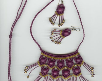 Macrame Necklace, Macrame Earrings, Macrame Necklace Set