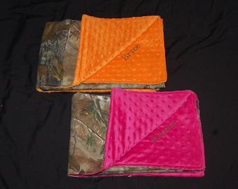 Custom Cotton Camo Real Tree Mossy Oak and Minky baby blankets GET it PERSONALIZED Hunters orange hot pink