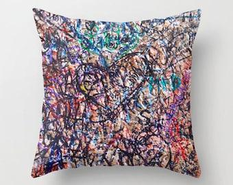 Graffiti Pillow, Velvet Cushion Cover, Girls Room Decor, Dorm Pillows, Girls Bedding, Throw Pillow Covers 18x18, 22x22, Graffiti Art, Pink