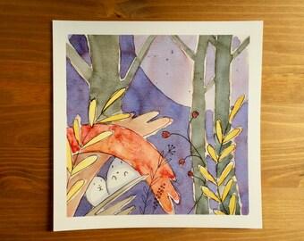 "Ghost Buddies ""Hidden"" Watercolor Print 8x8 by Kendra Minadeo Nursery Art, Baby Art, Nursery Decor, Inktober"