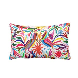 """Colorful Otomi Throw Pillow/Cover, Printed 14 x 20"""" Lumbar OUTDOOR, INDOOR Pillows/Covers, Bright/Mexican/Boho/Bohemian/Floral/Animal Print"""