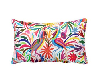 "Colorful Otomi Throw Pillow/Cover, Printed 14 x 20"" Lumbar OUTDOOR, INDOOR Pillows/Covers, Bright/Mexican/Boho/Bohemian/Floral/Animal Print"