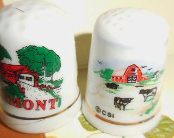 Vermont Thimble Porcelain Red Covered Bridge Red Barn Farm Scene Collectible Thimbles