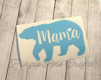 Mama Bear Decal Sticker Cling for Window, Car, Cup, Laptop, Tumbler, Tablet Mom