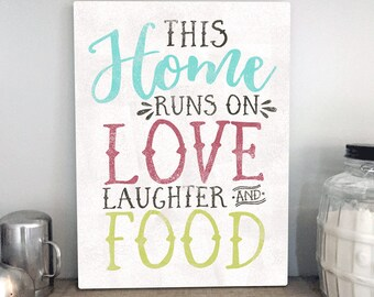 Love Laughter And Food by Misty Diller -  Gallery Wrapped Canvas | Farmhouse Kitchen Decor | Canvas Sign | Kitchen Sign | Print Canvas